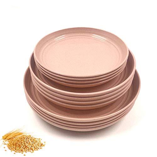 N//A Juego de 12 platos de paja de trigo, irrompibles, ligeros platos de cena, aptos para microondas, perfecto para ensalada, pasta, bistec y frutas (17,3 cm, 7,8 cm, 22,4 cm) (rosa)