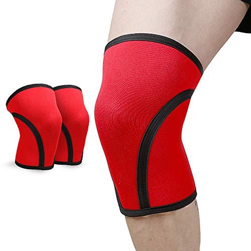 JZFUKSP 1 Paar Kniebandagen - 7 mm Kniebandagenstütze zur Stabilisierung der Gelenke, um Verletzungen vorzubeugen und die Genesung beim Powerlifting, Squat, Crossfit und Heben zu unterstützen