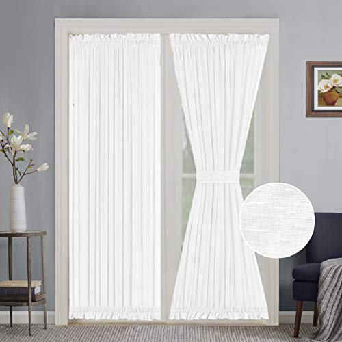 Turquoize Elegant Soft Linen French Door Curtains Light Filtering Curtain Panel, Rod Pocket Door Panels - 52W by 72L Inches - White - 2 Panels