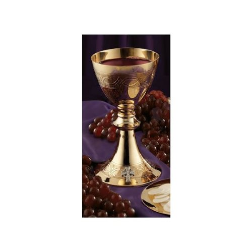 Etched Celtic Cross Chalice with Paten