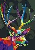 Pintar por Numeros Ciervo creativo de color animal Bricolaje Pintura al óleo para Colorear por números en Lienzo de Lino decoración de Arte de Pared 16x20 Inch sin Marco -HYS132