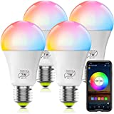 HaoDeng WiFi LED Light, 4Pack Smart Bulb -Timer& Sunrise& Sunset- Dimmable, Multicolor, Warm