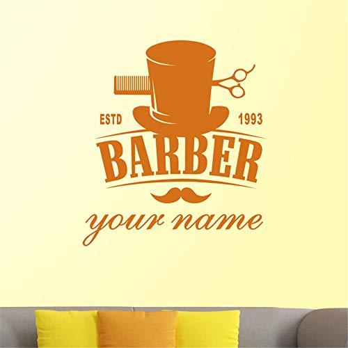 Crjzty Man Barber Shop Aufkleber Estd Customized Name Brot Aufkleber Haarschnitt Rasierer Poster Vinyl Wandkunst Aufkleber Dekor Gelb 46x58 cm