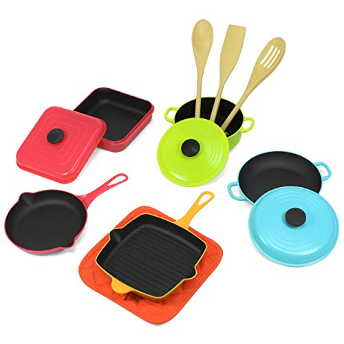 Kidzlane Kids Kitchen Cooking Set | Mini Modern Kitchen Accessories | 12 Piece Pretend Play Pots and Pans Toy Set for Kids and Toddlers