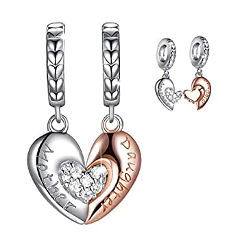 Mom Mother Daughter Heart Love Charms Dangle Charm Bead Set Fit Bracelet for European Snake Chain 925 sterling silver Pendant for Necklace