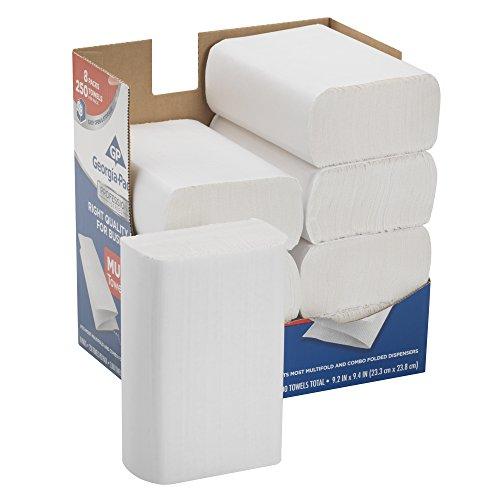 Georgia-Pacific Professional Series Premium 1-Ply Multifold Paper Towels by GP PRO (Georgia-Pacific), White, 2212014, 250 Towels Per Pack, 8 Packs Per Case