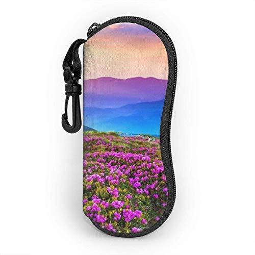 YZXC Mountain Floral Landscape Brillenetui für Frauen und Männer, tragbare Sonnenbrille Soft Case mit Karabinerhaken