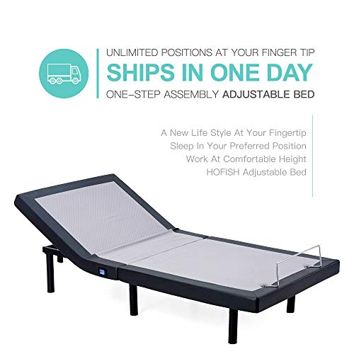 Hofish One-Step Assembly Customizable Positions Twin XL Solid Wood Slat Adjustable Bed Base with Backlit Wireless Remote&USB Ports Twin XL