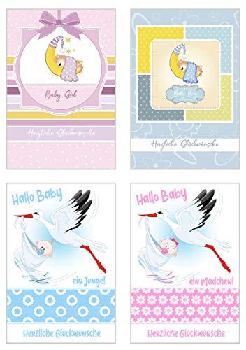 Edition Seidel Set 4 exklusive Babykarten und Umschlag. Glückwunschkarte Grusskarte zur Geburt. (Doppelkarten/Klappkarten mit Briefumschlag) Junge Mädchen