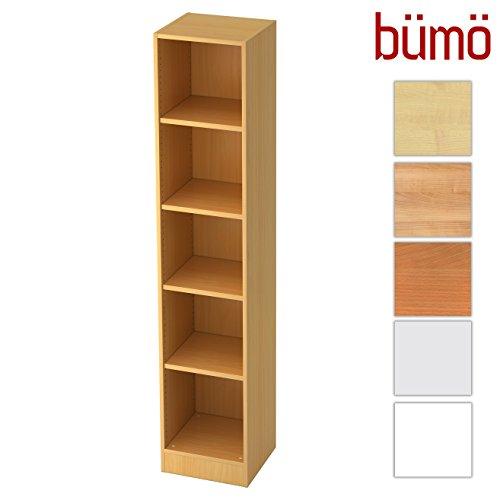 bümö® Office Aktenregal aus Holz | Büroregal für Aktenordner | Regal System für Ordner | Bücherregal inkl. Einlegeböden (Buche, Breite = 40 cm | 5 Ordnerhöhen)
