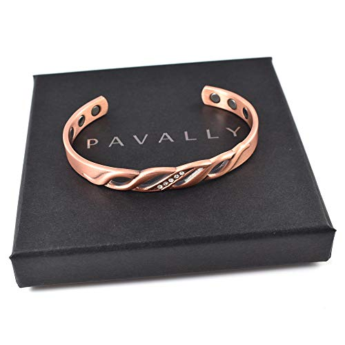 Ladies Copper Magnetic Bangle Womens Bracelet Carpal Tunnel Arthritis Natural Pain Relief by Pavally Stones - Boxed