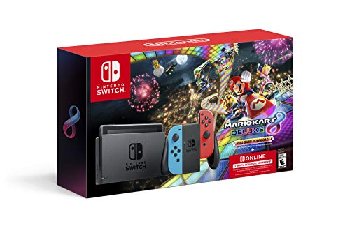"Nintendo Switchâ""¢ w/ Neon Blue & Neon Red Joy-Conâ""¢ + Mario Kartâ""¢ 8 Deluxe (Full Game Download) + 3 Month Nintendo Switch Online Individual Membership"