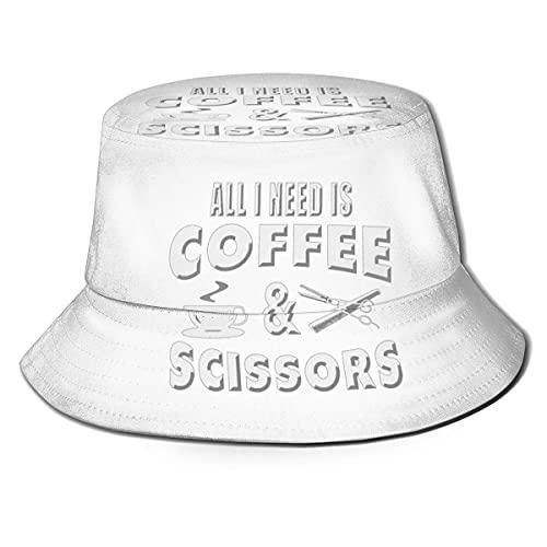 Yearinspace All I Need is Coffee and Scissors Unisex-Sonnenhut für Damen und Herren, einfarbig, Fischerhut, Sonnenhut