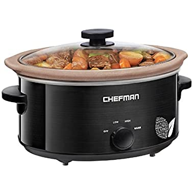 Chefman Slow Cooker, All Natural XL 7 Qt. Pot, Glaze-Free, Chemical-Free Stovetop, Oven, Dishwasher Safe Crock; The Only Naturally Nonstick Paleo Certified Slow Cooker, Free Recipes Included-RJ15-7-N
