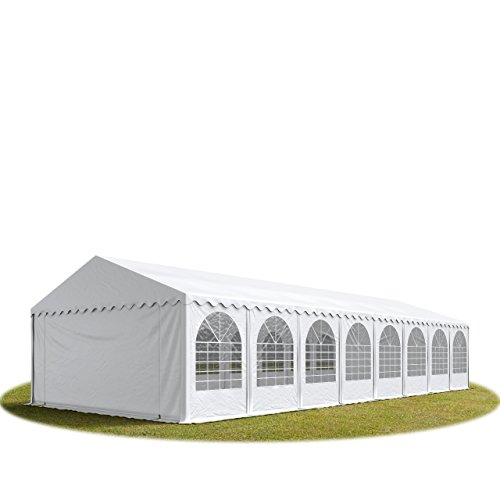 Festzelt XXL Partyzelt 5x20m, hochwertige 550g/m² feuersichere PVC Plane nach DIN in weiß, 100% wasserdicht, vollverzinkte Stahlkonstruktion mit Verbolzung, Seitenhöhe ca. 2,6 m