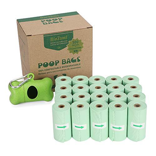 MASOCIO Bolsas Caca Perro 100% Biodegradable, 300 Bolsas excrementos Perro Compostables con 1 Dispensador y Clip, Hecho de Almidon de Maiz, EN13432 y Ok Compost Certificación