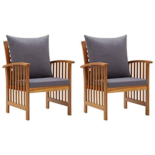 Galapara 2er Set Gartenstühle mit Kissen,Stuhl Sessel Gartenmöbel Stuhl Gartenstuhl, Terrassenstühle Holzstuhl Balkonstuhl Gartensessel für Terrasse, Veranda, Balkon Akazie Massivholz