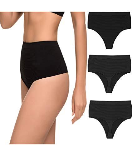 Pack de 3 Tanga Faja Reducción Ligera de Abdomen Mujer Sin Costuras Lycra. Braga Tanga Moldeador. (Negro, L/XL)
