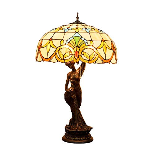 PYROJEWEL modern Table Lamp, Baroque Multicolor Stained Glass Shade Desk Lamp, Vintage Decoration Bedside/Nightstand Light with Zinc Alloy Base Compatible with Living Room Bedroom Indoor (Size : 50cm)