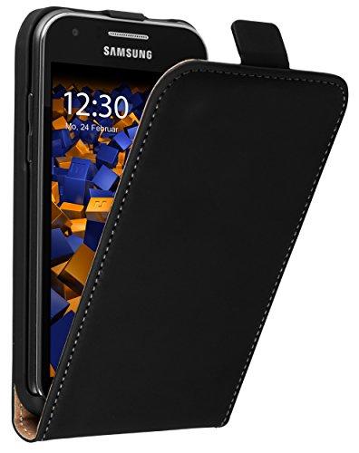 mumbi Tasche Flip Case kompatibel mit Samsung Galaxy J1 Hülle Handytasche Case Wallet, schwarz