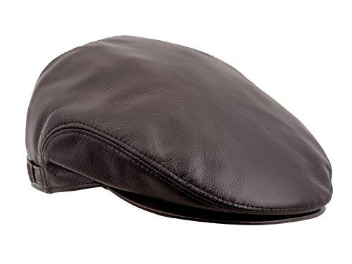 Sterkowski d'hiver en cuir véritable Ivy League Casquette plate avec rabats - Marron - Large