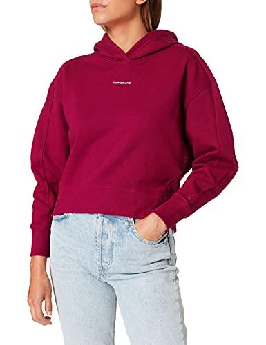 Calvin Klein Jeans Micro Branding Hoodie Maglia di Tuta, Dark Clove, Medium Donna