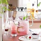 Karaffe, Aofmee Karaffe 2 liter, Glaskaraffe, Wasserkaraffe, Glaskaraffe mit Deckel, Wasserkrug mit Fruchteinsatz, Glaskrug, Wasserkaraffe mit Kühlung, Eistee Krug Saft Krug, Getränkekaraffe Glaskanne - 5