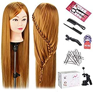Total Length:24 inches(from forehead to tip of hair in the back) Material:100%synthetic hair, mannequin head hair, Vinyl head and facial makeup.Free Table clamp holder and packaged in a fashion colour box. Application: practice braiding, adornment di...