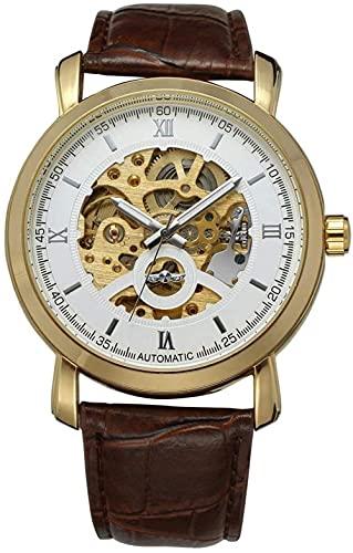 JZDH Mano Reloj Hombres Ver Relojes de Pulsera Hueco automático Movimiento mecánico Reloj de Hombre Correa marrón de Cuero Esfera Blanca Relojes Decorativos Casuales
