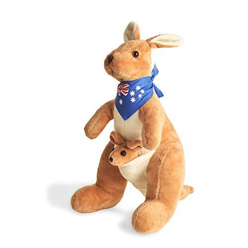 BOHS Canguro Relleno con Bufanda de Australia y Joey - Juguete de Animales Blandos abrazable - 30 cm Altura