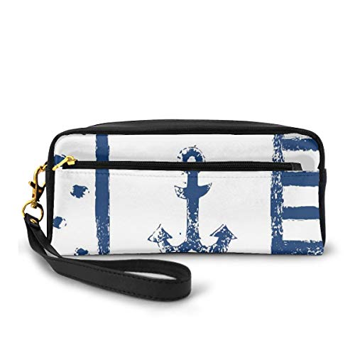 Pencil Case Pen Bag Pouch Stationary,Grunge Murky Boat Anchor Silhouette with Polka and Stripe Retro Navy Theme Art,Small Makeup Bag Coin Purse