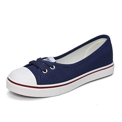 Mujer Zapatos Casuales Primavera Verano Resbalón Superficial en los Planos Mocasines Mujer Luz Transpirable Moda Lona Zapatos de Barco