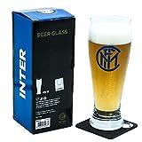 Generico Verre à bière Tifoso FC Inter avec écusson noir bleu, produit officiel, capacité 415 ml, avec dessous de verre, décapsuleur, avec boîte