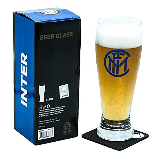Generico Bicchiere Birra Tifoso Inter con Stemma NEROAZZURRO, Prodotto Ufficiale, Bicchiere capacità 415ML, con Sottobicchiere Apribottiglie, Completo di Scatola