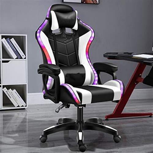 Ergonomischer Bürostuhl, Gaming-Stuhl mit Bluetooth-Lautsprechern PU-Leder-Lichter-Recliner mit Fußstütze für Frauen Mann Für Zuhause und Büro (Color : Version 4)