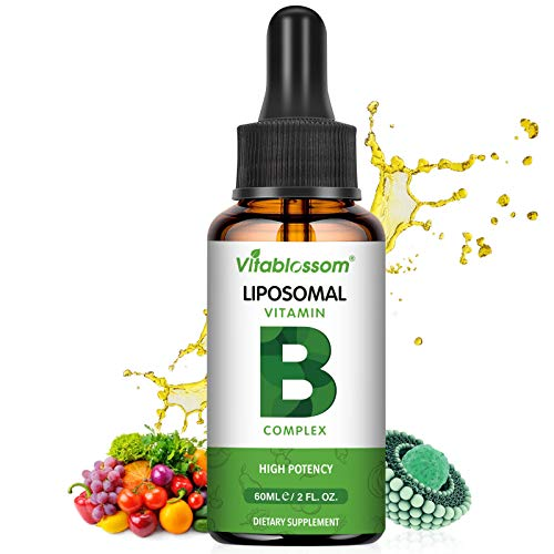 Liposomal Vitamin B-Complex Liquid, MAX Absorption, ContainsVitamins B1, B2, B3, B5, B6, B12, Biotin and Folate, Immune System & Energy 60ML (1 Pack)