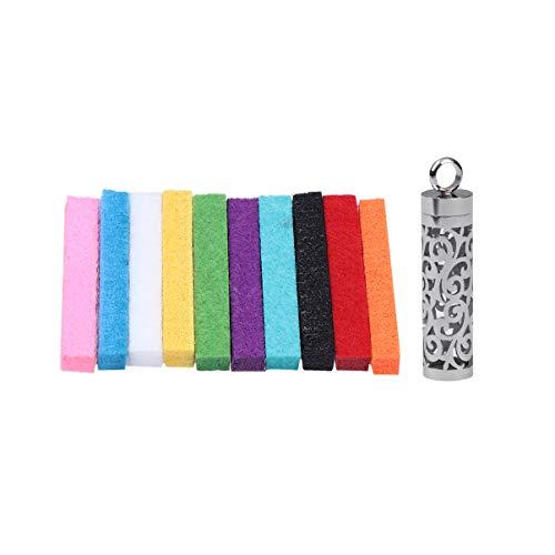 SUPVOX Botella de Perfume Colgante Aromaterapia Difusor Collar Collar de Encanto de Acero Inoxidable con Bastón de Algodón Color Aleatorio Día de San Valentín Regalo de La Madre