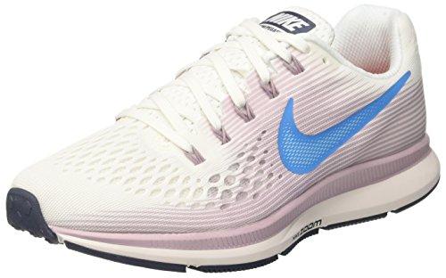 Nike Womens Air Zoom Pegasus 34 Running Shoes (7.5), Summit White/Elemental Rose/Thunder Blue/Equator Blue