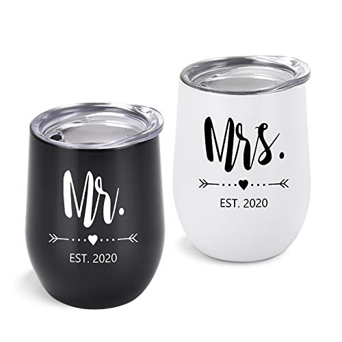 Mr and Mrs EST 2020 Wine Tumbler Bridal Shower Gift for Bride and Groom, 12 Oz Mr Mrs Tumblers Wedding Gift for Newlyweds Couples Bride to Be His and Her Engagement Honeymoon, Set of 2