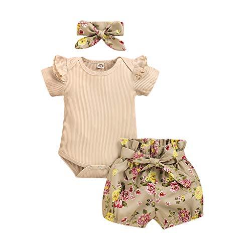 Neugeborenes Baby-Unisex Schlafsack Strampler Neugeborene Kinder Baby Mädchen Kleidung Strampler Bodysuit + Flower Print Shorts Set ODRD Mädchen Jungen Body Babyschlafsack (12-18Monate, Khaki 1)