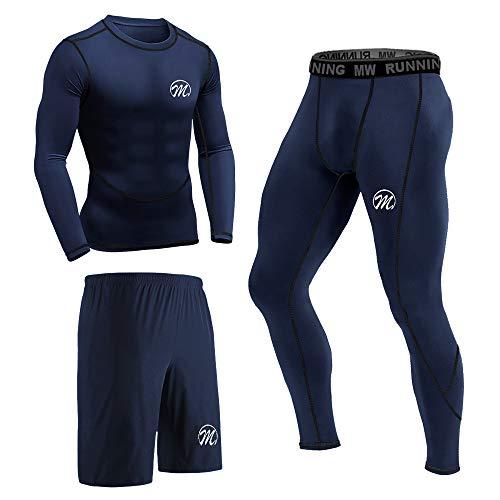 MEETEU Ensemble de Compression Homme, Quick Dry T-Shirt sous-vêtements Legging Sport Short Collant pour Workout Running Yoga Jogging (Bleu, L)