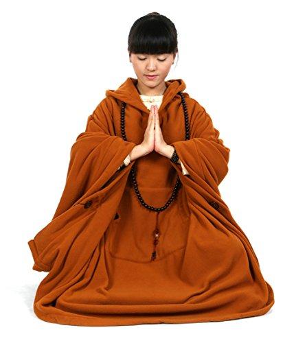 Katuo, mantello da meditazione buddista, con cappuccio, unisex, oversize Orange XL