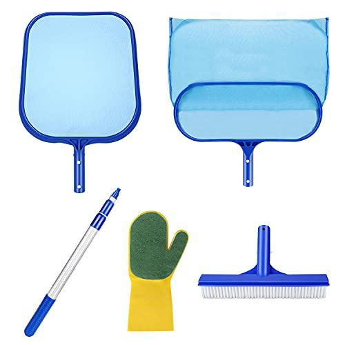 Familybox Whirlpool Pool Kescher Set, enthält Schwimmbad Abschäumer Pool Kescher, Bodenkescher Pool Tief Kescher, 1.2M Alu Teleskopstange Schwimmbad und Handschuhe für den Whirlpool Hot Tub