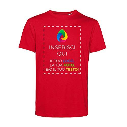 Teetaly Maglietta T-Shirt con Stampa Personalizzata- 100% Cotone Organico (Rosso, S)