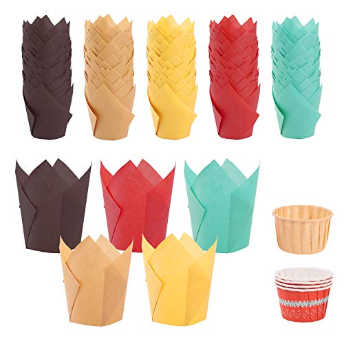 250pcs Tulip Cupcake Baking Cups, Muffin Baking Liners Holders, Rustic Cupcake Wrapper