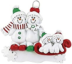 Frame Company Personalized Christmas Tree Decoration Ornaments Snow Sled Family - For the family of 4 members- Get your desired names on the items- A