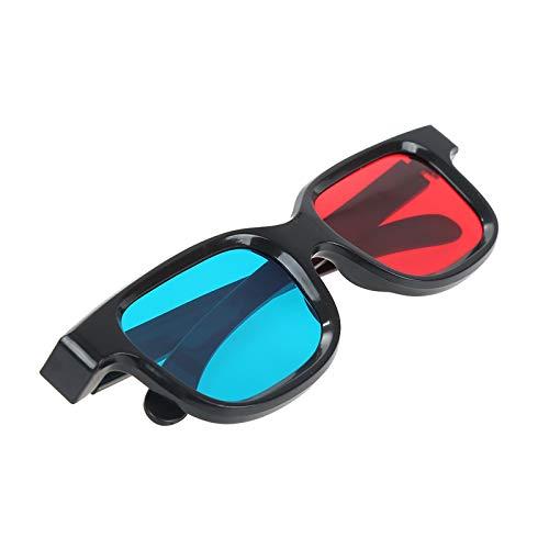 YUOXO Nuevos gafas 3D rojo azul marco negro lente de resina de marco grande estilo simple para la televisión dimensional película DVD juego proyector pantalla en cine en casa