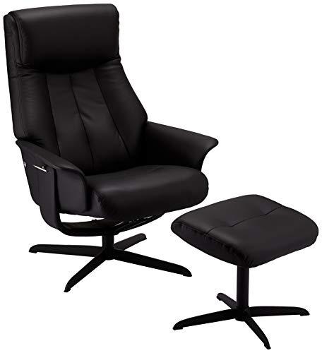 Ibbe Design Schwarz Leder Drehbar Relaxsessel mit Hocker und Manuell Verstellbar Relaxfunktion Stressless Fernsehsessel Bilbao, 77x85x106 cm