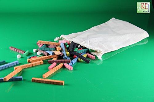 Kleiner Satz farbige Rechenstäbe 126 teilig aus Re-Wood® im Baumwollbeutel