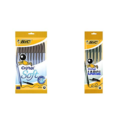 BIC Cristal Soft bolígrafos punta media (1,2 mm) - Negro, Blíster de 10 unidades + Large bolígrafos Punta Ancha (1,6 mm) - Negro, Blíster de 5 unidades